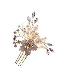 Dovewill Wedding Pageant Bridal Bride Rhinestone Crystal Floral Hair Comb Art Decor