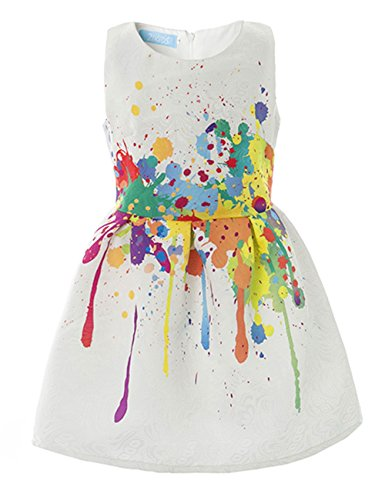 21KIDS Creative Art Colorful Paint Dress Print Summer Girls Casual Dresses Size (Dresses For Girls Size 7 8)