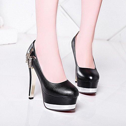 Mee Shoes Damen high heels Plateau Strass Pumps Schwarz