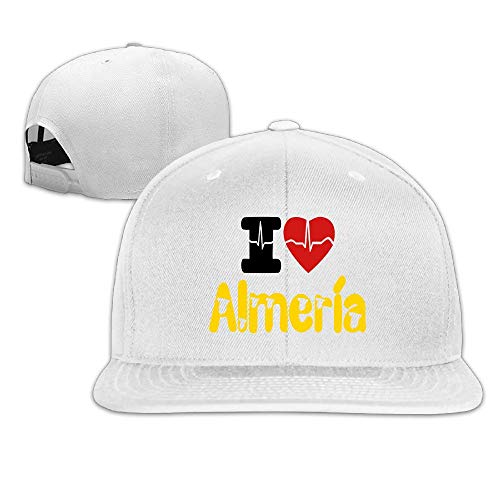 (Fashion Cool I Love Almeria Unisex Flat Baseball Cap for Outdoor or Indoor White)