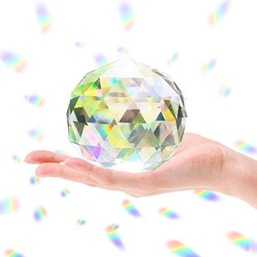 Cosylove 80mm/3.15 Inch Clear Cut Crystal Ball Prisms Glass Sphere Faceted Gazing Ball for Home Décor, Suncatcher
