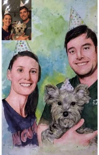 SmileMiddle - Pintura de Acuarela Hecha a Mano, Foto para Pintar, Retrato Personalizable, Boda, cumpleaños, Aniversario, Navidad, Novia, Regalo para Novio