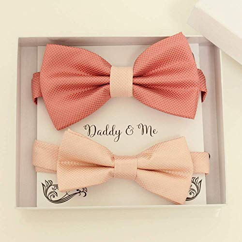 Coral and blush bow tie set for daddy