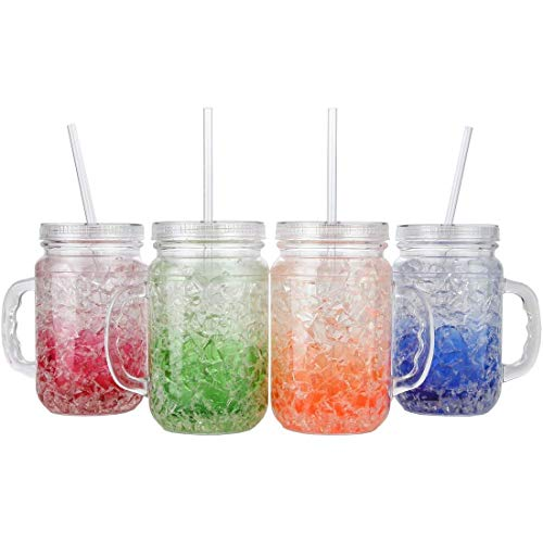 (Lily's Home Double Wall Gel-Filled Acrylic Freezer Mason Jar Mugs with Lids and Straws, Great as Old Fashion Drinking Glasses at BBQs and Parties, Assorted Colors (18 oz. Each, Set of 4))