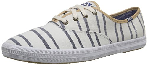 Keds Champion Stripe - Keds Women's Champion Washed Beach Stripe, Off White, 6.5 M US