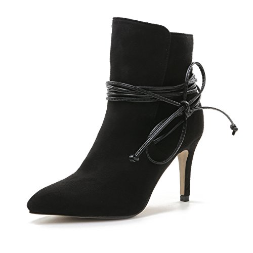 QIN&X Señaló la mujer Tacones Stiletto Toe Botines cortos zapatos con plataforma Black