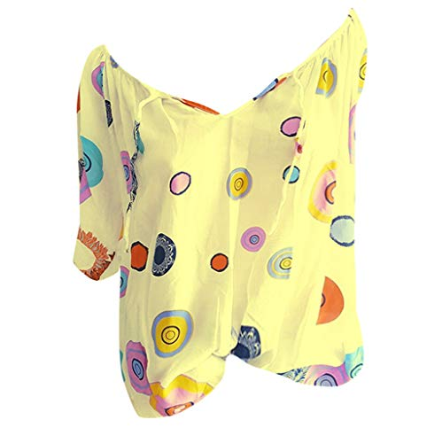 Smdoxi Women's Summer V-Neck Cartoon dot Print Half Sleeve Shirt Loose Casual Shirt top Yellow]()