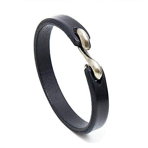 MLD Handmade Unisex Genuine Leather Bracelet, Adjustable Cuff Wristband,Punk Leather Wrap (S-Hook Black)