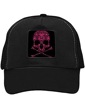 Unisex Pink Death's Head Adjustable Classic Hiphop Hat Baseball Cap Snapback Dad Hat