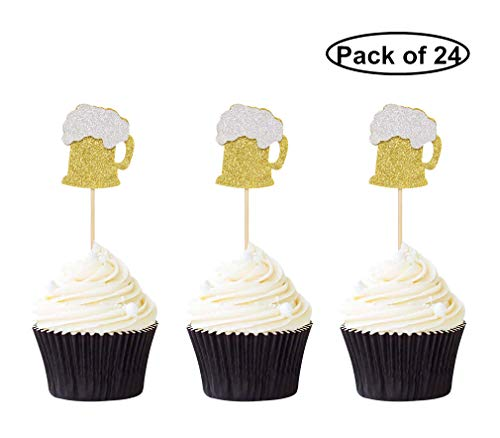 24 PCS Gold Glitter Beer Mug Cupcake Toppers Food Cake Picks Party Decor