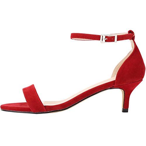 ZBeiBei Women's Mid Heels Open Toe Faux Velvet Summer Shoes Buckle up Sandals(ZBB1051VE42,red) -