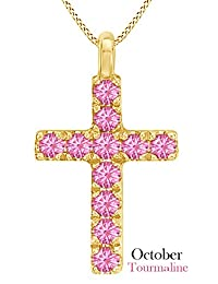 Cross Pendant Necklace In 14k Yellow Gold Over Sterling Silver