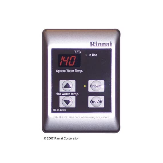 Rinnai MC-91-2S Standard Remote Controller - Residential or Commercial, 98-Degree -140-Degree F, Silver by Rinnai 1 Rinnai MC-91-2S Standard Remote Controller - Residential or Commercial, 98-Degree -140-Degree F, Silver Small