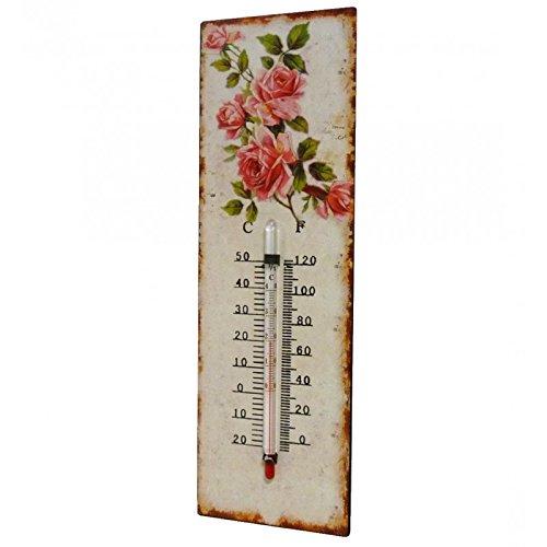 'Termometro da parete decorativo in Celsius e Farenheit o da tavolo, motivo floreale antico in ferro e carta vernice 0,5x 8x 25cm L' Héritier Du Temps