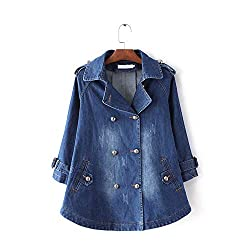 Women Spring Autumn Denim Coat For Women Jeans Jacket Peter Pan Collar Double Breasted Long Sleeve Denim Cardigan Hb 124 Dark Blue Xl