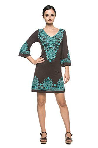 Women's Ethnic Moroccan Boho Peasant Bell Flare Sleeve Jersey Tunic Mini Dress (Large, Brown)