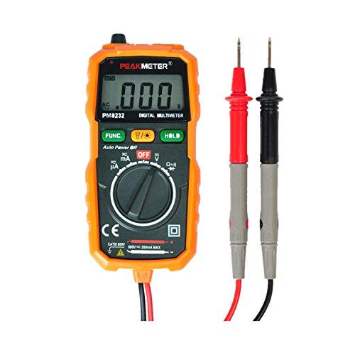 Digital Multimeter? PEAKMETER PM8232 Mini Auto Ranging Digital Multimeter Smart DMM Resistance Test Meter Measure AC/DC Voltage Tester with Test Leads