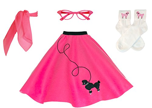 Hip Hop 50s Shop Adult 4 Piece Poodle Skirt Costume Set Hot Pink (Pink Poodle Skirt Grease)