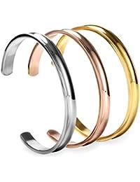 COCOStyle Stainless Steel Bracelet Hair Tie Bracelet 3 Colors, Grooved Cuff Bangle Bracelet for Women Girls