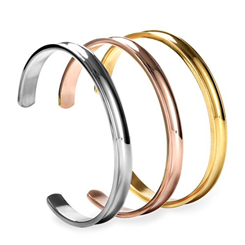 3 Polished Bangle Bracelets (COCOStyle Stainless Steel Bracelet 3 Colors, Grooved Cuff Bangle for Women Girls (Three Pcs Set))