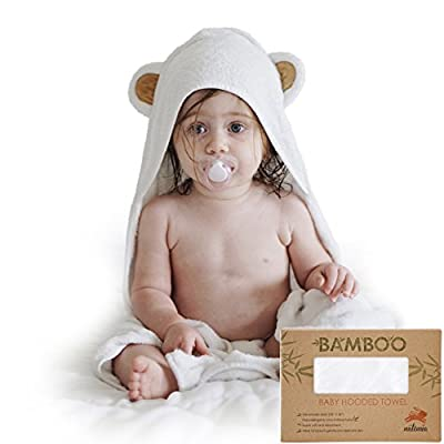 Natemia Extra Soft Baby Bamboo Hooded Towel | Antibacterial and Hypoallergenic | Keeps Baby Dry and Warm | Sized for Infant and Toddler