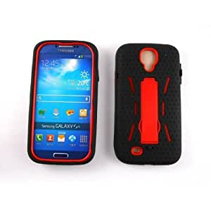 M-Global(TM) Hybrid Rugged Hard Silicone Case Cover w/ Stand for Samsung Galaxy S4 i9500 -Red +Free Gift Creative colorful multifunctional phone holder(A02-01-red)