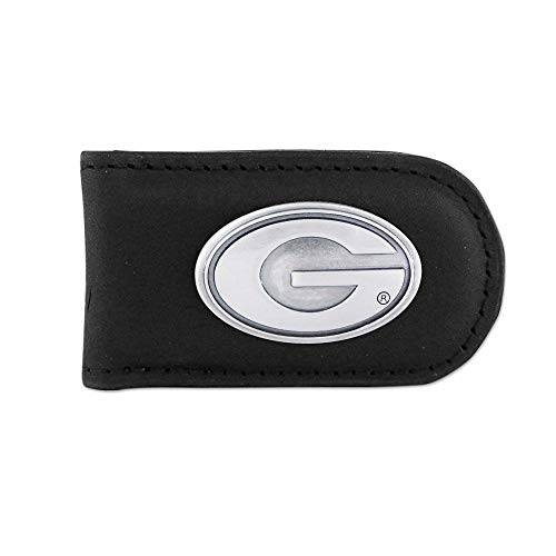 NCAA Georgia Bulldogs Black Leather Magnet Concho Money Clip, One Size