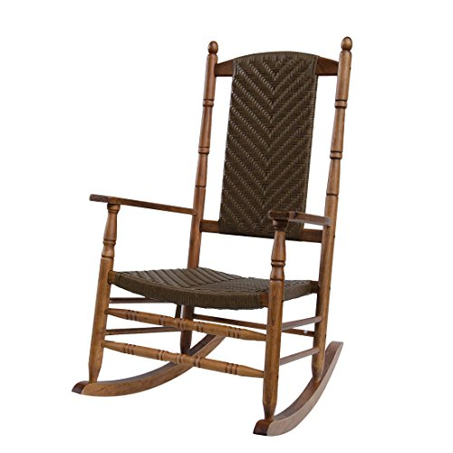 Caymus Natural Solid Hardwood Outdoor Rocking Chair Country Plantation Porch Rocker Provide Comfortable Seating on Patio or Deck