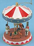 Dollhouse Miniature Carousel with Four Horses, Baby & Kids Zone