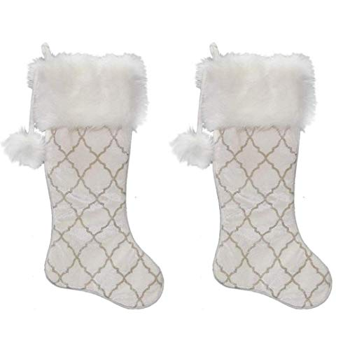 New Traditions 2-Pack 23 inch Christmas Stockings (Ivory)