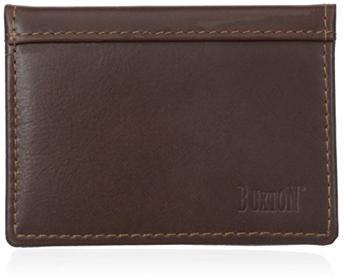 Leather Gusset Card Case (Buxton Men's Sandokan Business Card Holder, Brown, One Size)