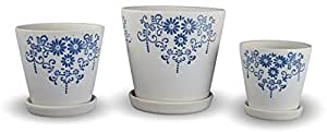 Set of 3 Porcelain Ceramic Planters Flower Pots with Trays Blue Flower and Leaf Motif