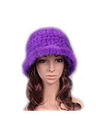 UK.GREIFF Women's Trendy Warm Stretch Mink Fur Fedoras Winter Hat Cap Purple