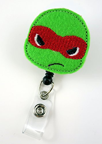 Ninja Turtle Red - Nurse Badge Reel - Retractable ID Badge Holder - Nurse Badge - Badge Clip - Badge Reels - Pediatric - RN - Name Badge Holder
