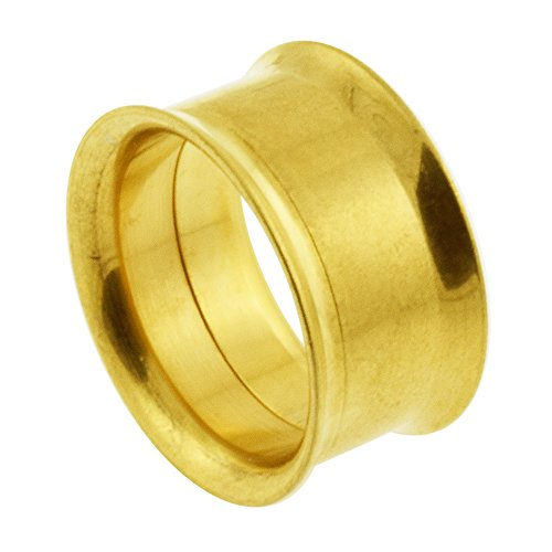 7/8 Inch - 22MM Gold Anodized 316L Surgical Steel Internally Threaded Screw Fit Flesh Tunnels
