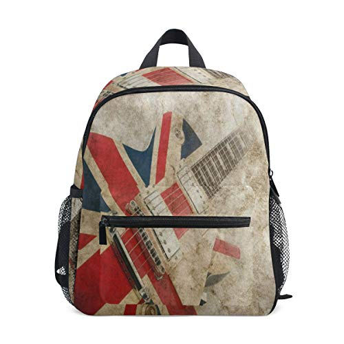 - Grunge Union Jack British Guitar School Backpack for Girls Kids Kindergarten School Bags Child Bookbag