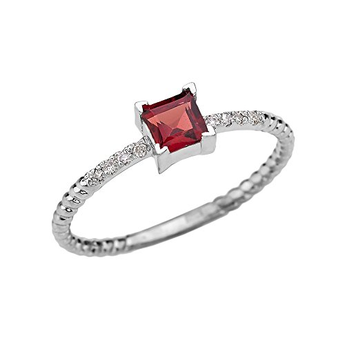 14k White Gold Diamond and Princess Cut Solitaire Garnet Dainty Promise/Engagement Ring(Size 7.25)