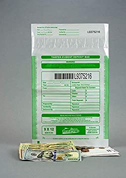 Box of 100 Bags 9 x 17 Tamper Evident Dual Pocket White Transaction Bags