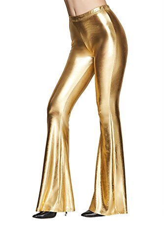 Naimo Women Sexy Shiny Slim Fit High Waist Bell Bottom Flare Pants (Gold-L) for $<!--$19.99-->
