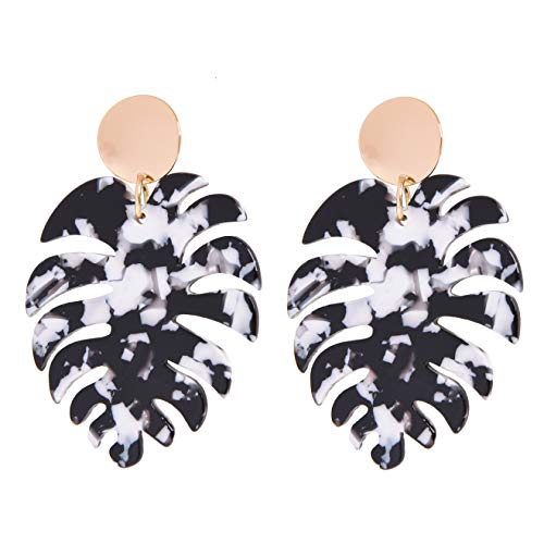 Rivertree Palm Earring W/Hammered Pendant Monstera Leaf for Women & Girls Drop Dangle - White & Black Acrylic Bohemian Tropical Beach Lightweight