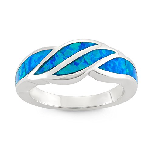 Sterling Silver Created Blue Opal Designed Band Ring (Size 7) (Opal Inlay Ring)