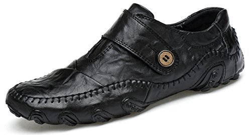 Forucreate Men's Casual Leather Octopus New Chic Shoes Fashion Walking Driving Shoes Slip-On Loafers (Black 45)