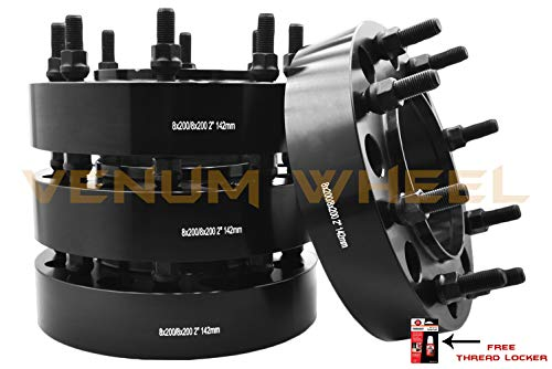 4 Pc | 8x200 MM | 2 Inch Thick | Black Hub Centric Wheel Spacers Adapters | Fits: 2005-2019 Ford F-350 Dually Trucks 2x4 4x4 Diesel (True Hub Centric) Made in USA Bolt-On