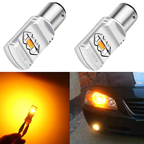 Alla Lighting 3800lm BAY15D 1157 Amber Yellow LED Bulbs Xtreme Super Bright 2357 3496 1157 LED Bulb High Power ETI 56-SMD 12V LED 1157 Bulb for Car Truck Motorcycle Turn ()