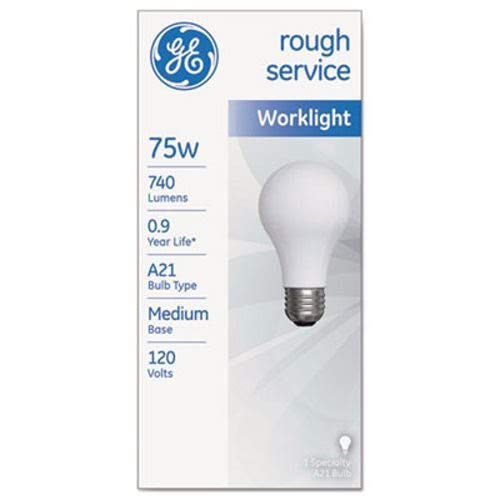 GE 18274 Rough Service Incandescent Worklight Bulb, A21, 75 W, 1230 lm
