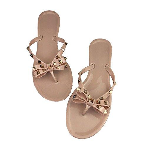 - Mtzyoa Women Stud Bow Flip-Flops Sandals Beach Flat Rivets Rain Jelly Shoes Nude