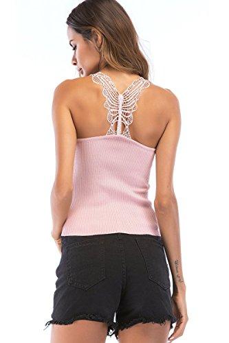 Womens Knit Slimming Fit Sleeveless Sexy Rib Racerback Tank Tops Pink Medium - Rib Knit Racerback Tank