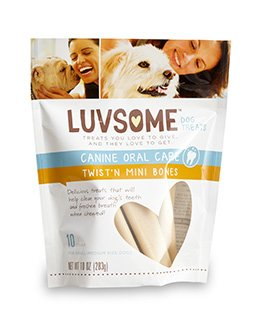CANINE ORAL CARE TWIST N MINI BONES 10 Count – Small to Medium size dogs by Luvsome