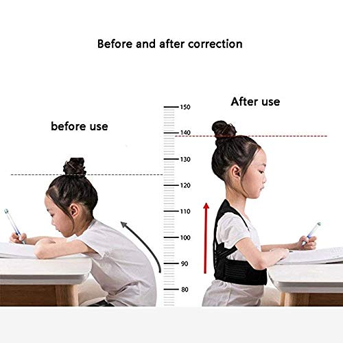JCM Kyphosis Correction Belt, Corrector Student Back Spine Correction with Anti-Spine ZJ (Color : Black, Size : M)