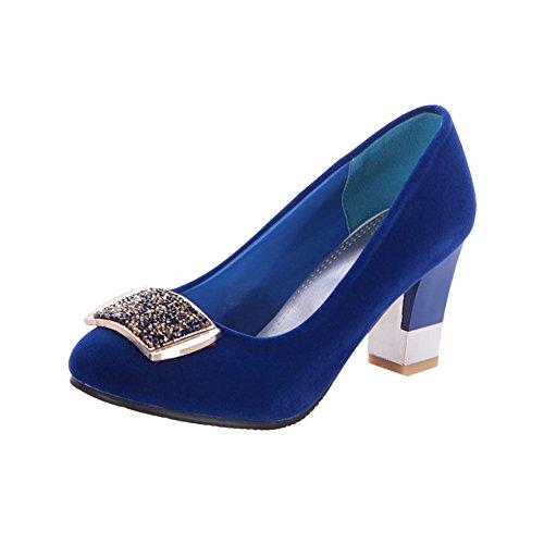 Mee Shoes Damen elegant Nubukleder Geschlossen mit Strass Metall-Dekoration Pumps mit hohen Absätzen Blau